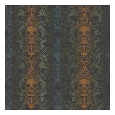 Brewster TOT47112 Luther Orange Skull Modern Damask Wallpaper - Orange