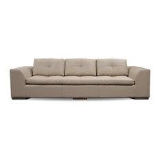 """Henri 110"""" Leather Sofa, Finish: Ebony, Leather: Black"""