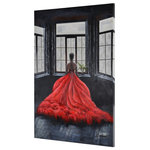 "Renwil - ""Marbella"" Wall Decor - The allure of the red dress in this figurative painting provides a provocative contrast to the muted greys and blues of the room."