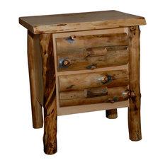 Rustic Aspen Log 2-Drawer Nightstand