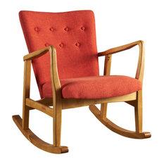 GDF Studio Collin Mid Century Fabric Rocking Chair, Muted Orange