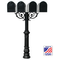 The Hanford Quad Mailbox Post System, Scroll Supports, Black, HPWS4-US-700-E1