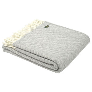 Pure Wool Blanket, Fishbone Design, Silver Grey