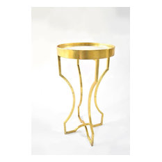 Four-Legged Accent Table With An Antiqued Mirror Top In Leaf Finish, Gold