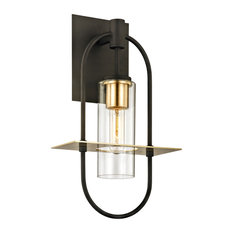 Smyth Medium 1-Light Outdoor Wall Sconce, Bronze and Brass Finish, Clear Glass