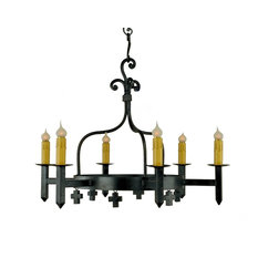Mission 6-Light Chandelier With Mini Crosses, Bronze Finish