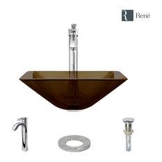 R5-5003-CAS Cashmere Glass Vessel Sink, R9-7006 Faucet, Chrome