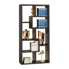 Bowery Hill Asymmetrical Bookcase In Cappuccino