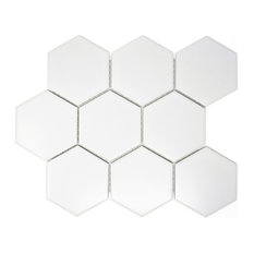 "10.75""x10"" Toran Porcelain Mosaic Tile Sheet, White"