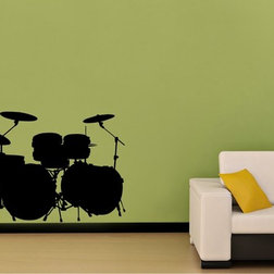 Cute Contemporary Wall Decals Drum Set Sticker