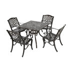 GDF Studio 5-Piece Odena Outdoor Cast Aluminum Square Bronze Dining Set