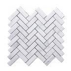 "12""x12"" Carrara Venato Herringbone Marble Mosaic Tile, Single Sheet"