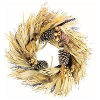 "24"" Artificial Pumpkin Wheat Berry with Corn Husk Wreath"