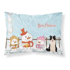 Merry Christmas Carolers Border Collie Black White Fabric Standard Pillowcase