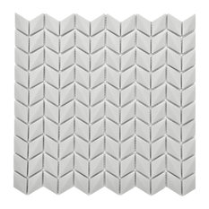 """11 1/2""""x12"""" Chevron Recycled Glass Tile, Steel"""