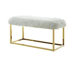 Astraea Faux Fur Metal Frame Ottoman Bench, White/Gold