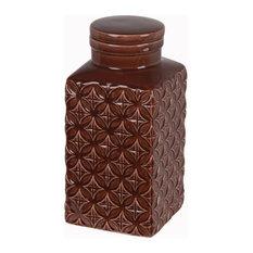 Privilege International Diamond Ceramic Jar With Lid, Small