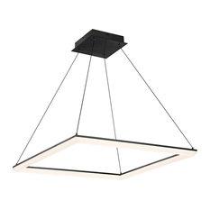 """Frame Square 28"""" LED Pendant 3000K, Brushed Aluminum, Black, 28"""""""