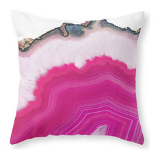 "Pink Agate Slice Throw Pillow Cover, 16""x16"" With Pillow Insert"