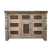 """Marshall Rustic Vanity With Metal Inserts, Vintage Gray, 42""""w X 20""""d X 32""""h"""