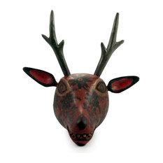 Novica Orange Maya Deer Wood Mask