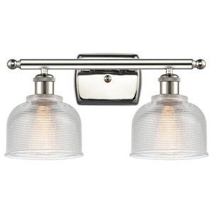 Dayton 2-Light Bath Vanity-Light, Polished Nickel, Clear