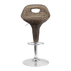 Champagne Wicker Adjustable Stool With Chrome Base