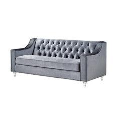 Inspired Home Clara Velvet Modern Contemporary On Tufted Lucite Acrylic Legs Sofa Gray