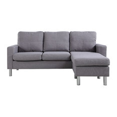Divano Roma Furniture   Modern Small Space Reversible Linen Fabric Sectional  Sofa, Light Gray