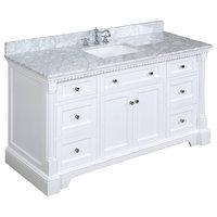 "Sydney Bath Vanity, White, 60"", Carrara Marble, Single Sink"