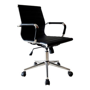 Designer Executive Ergonomic Mid Back Office Chair Ribbed For Conference, Black