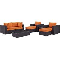 Modway Convene 8-Piece Patio Sofa Set, Espresso and Orange