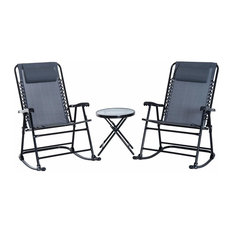Outsunny Outdoor Rocking Chair Patio Table Seating Set Folding, Gray