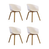 Danish Style Dining Arm Chair, Natural Legs, White, Set of 4
