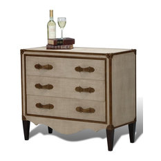 """36"""" w Nicholas Chest of drawer french art deco canvas leather wood brass finish"""