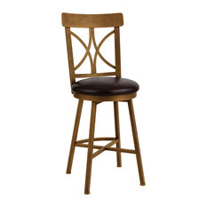 """Siena Counter Height Swivel Barstool, Black Bonded Leather/Copper Bisque, 26"""""""