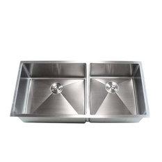 "Stainless Steel Undermount Double-Bowl Kitchen Sink, 42"""