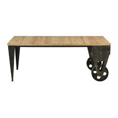 Sofamania   Classic Wood And Metal Plank Coffee Accent Table With Casters    Coffee Tables