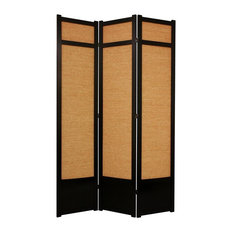 7 ft. Tall Jute Shoji Screen w Kick Plate (3 Panels / Black)
