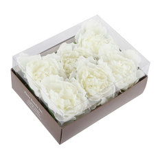 Flora Bunda - Faux Peony Napkin Rings, Set Of 6, White - Napkin Rings