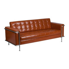 Charming Flash Furniture   Flash Furniture Faux Leather Sofa, Gray, Orange   Sofas