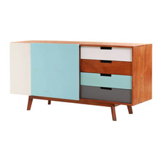 Euless Solid Wood Scandinavian 4 Drawer Large Sideboard Cabinet