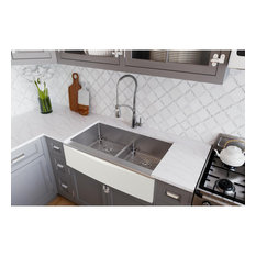 CTXFA34179C Crosstown Stainless Steel Farmhouse Sink Kit with Aqua Divide