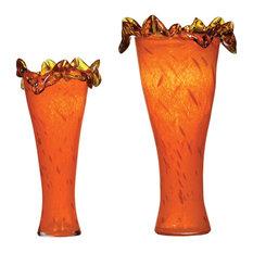 Orange Glass Vases, Set of 2