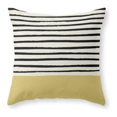 "Daffodil Yellow X Stripes Throw Pillow, 16""x16"" With Pillow Insert"