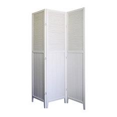 Shutter Door 3-Panel Room Divider, White