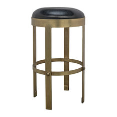 Noir Metal And Leather Bar Stool With Brass Finish GSTOOL146MB-S