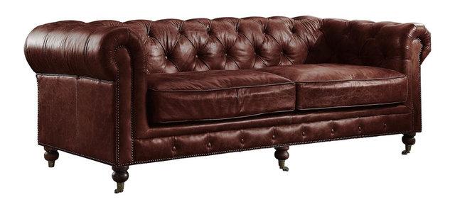 Aberdeen Top Grain Leather Sofa Vintage Dark Brown
