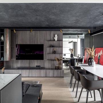 Антиизба – кухня-гостиная в темных тонах