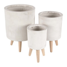 Modern Cylindrical Fiber Clay Planters With Wooden Legs, 3-Piece Set, White